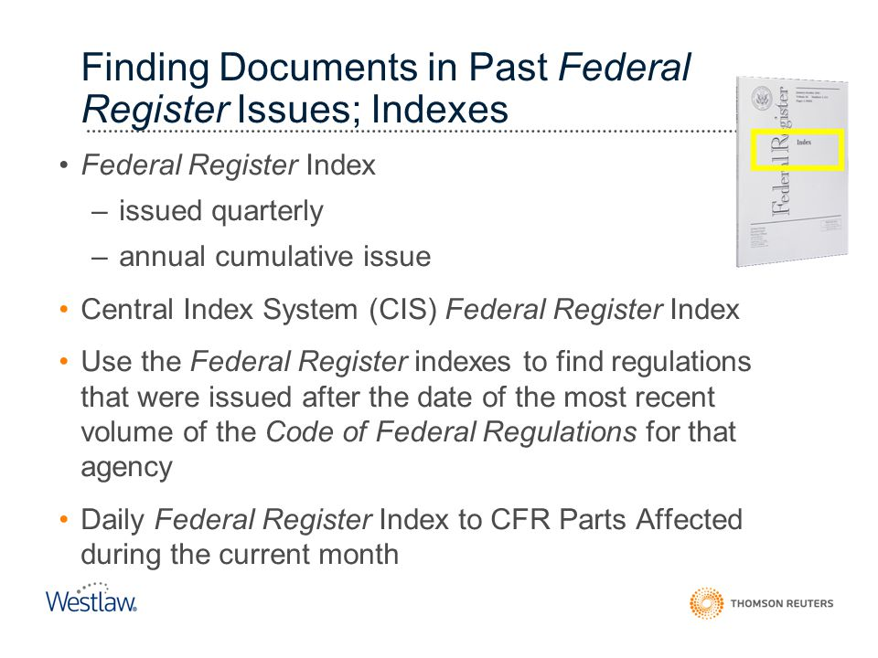 Finding Documents in Past Federal Register Issues; Indexes