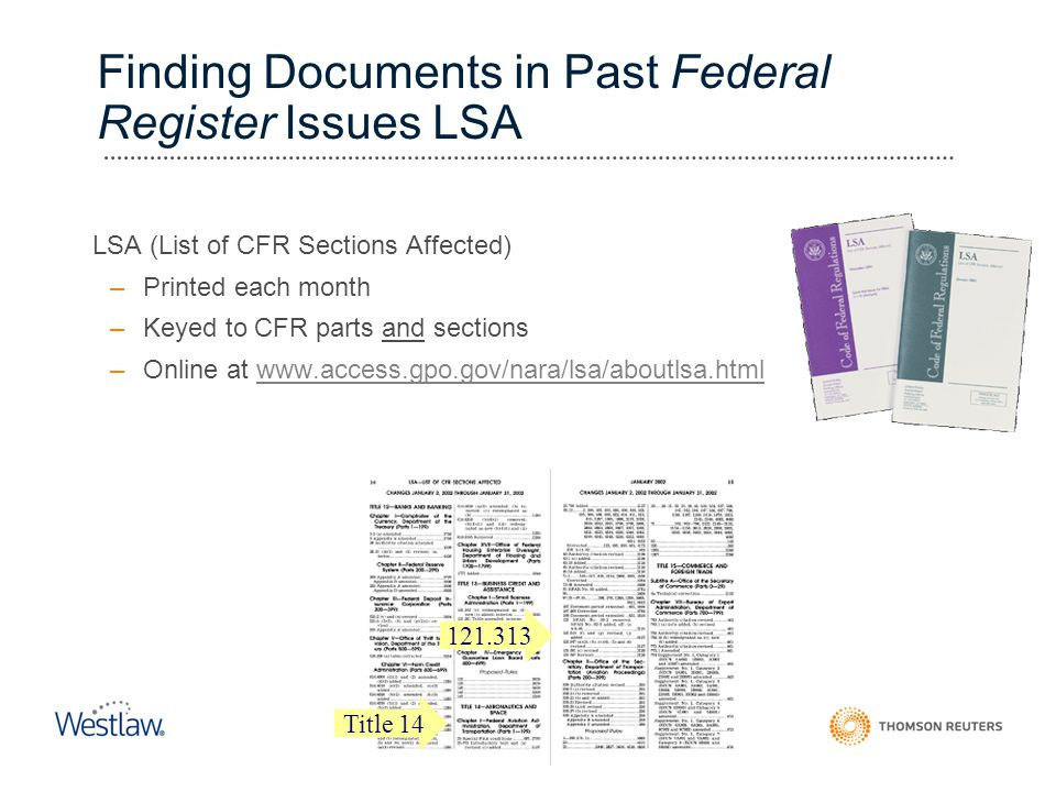 Finding Documents in Past Federal Register Issues LSA