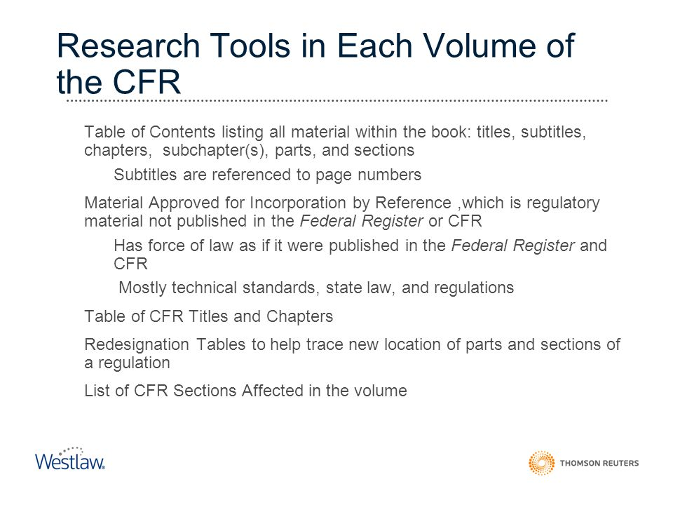 Research Tools in Each Volume of the CFR