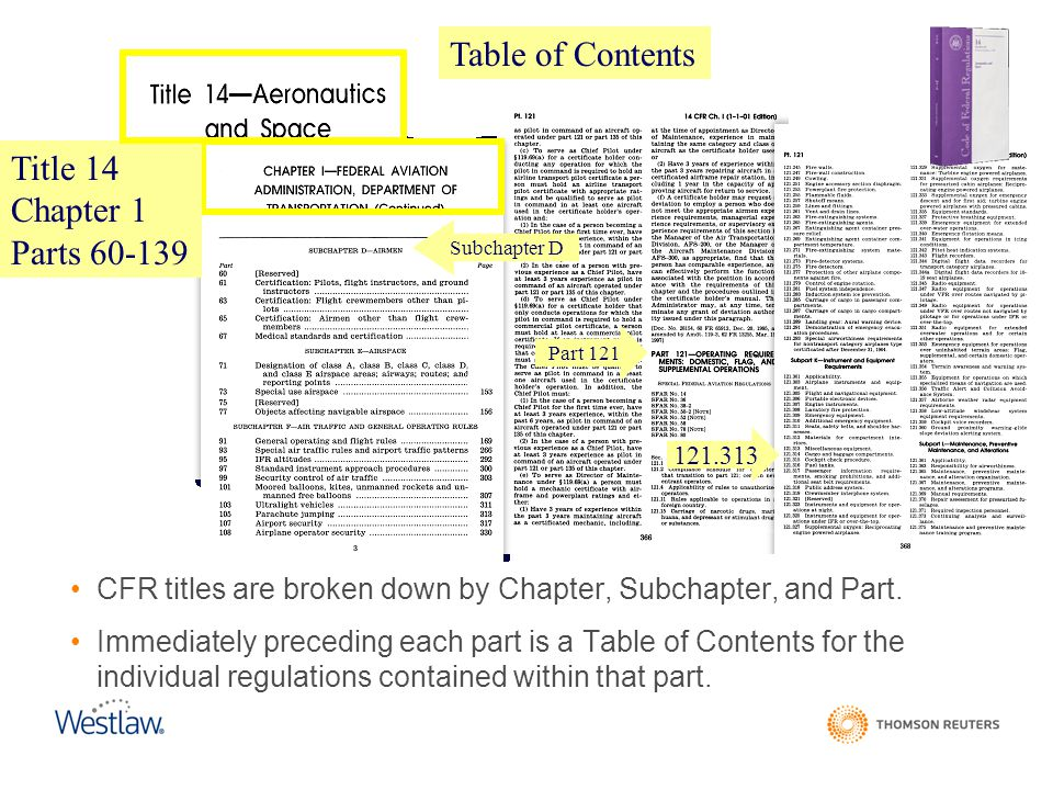 Table of Contents Title 14 Chapter 1 Parts 60-139