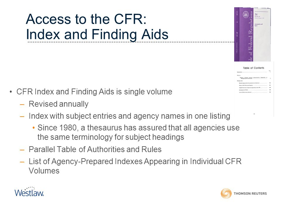Access to the CFR: Index and Finding Aids