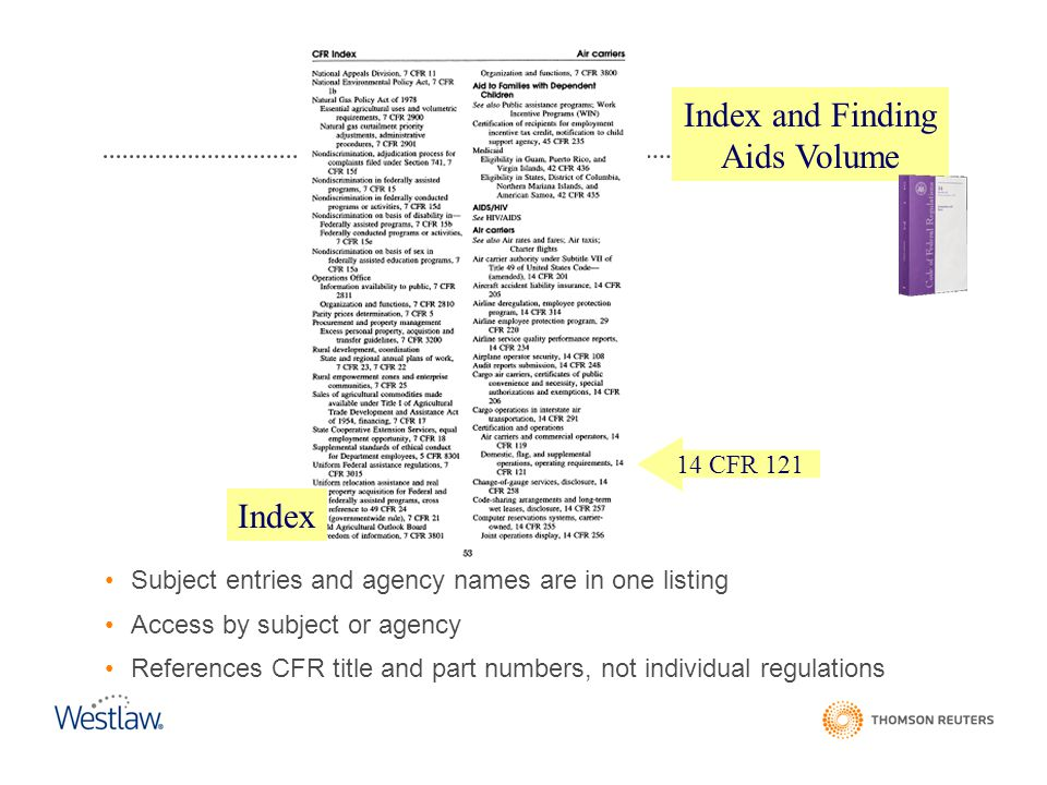 Index and Finding Aids Volume Index CFR Index 14 CFR 121