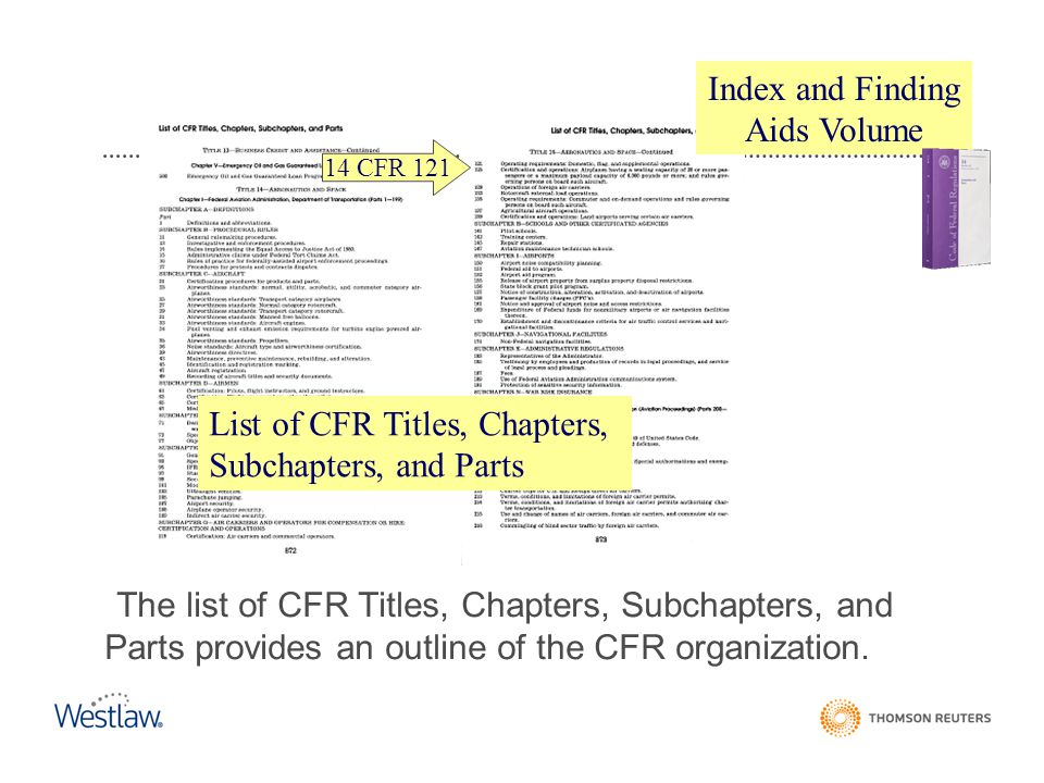 List of CFR Titles, Chapters, Subchapters, and Parts