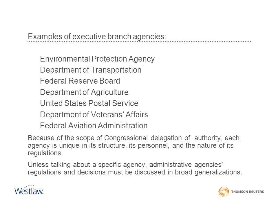 Examples of executive branch agencies: Environmental Protection Agency