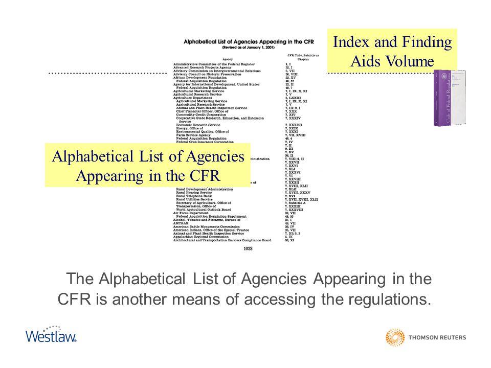 Alphabetical List of Agencies