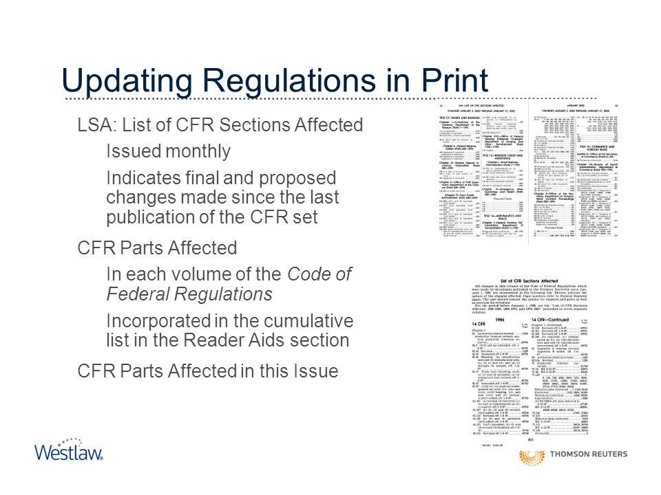 Updating Regulations in Print