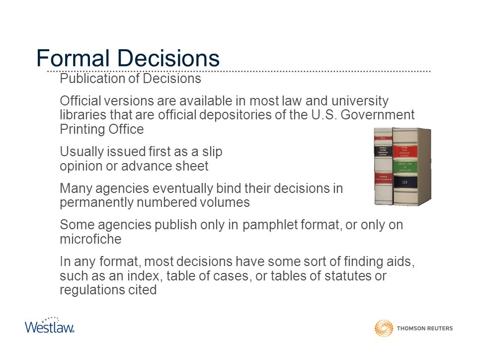 Formal Decisions Publication of Decisions