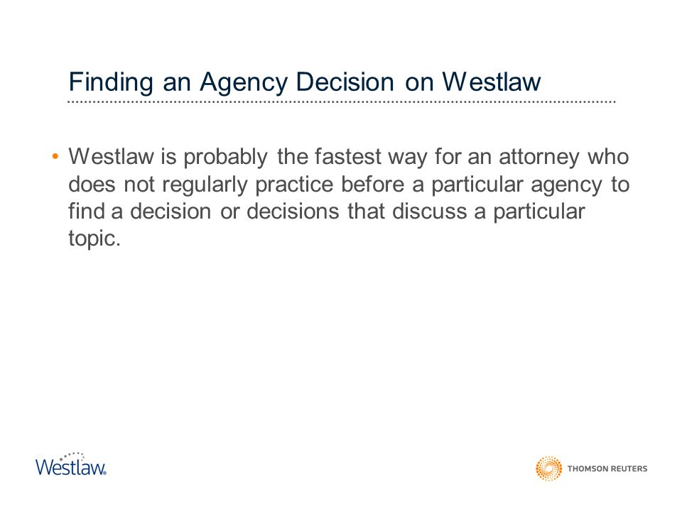 Finding an Agency Decision on Westlaw