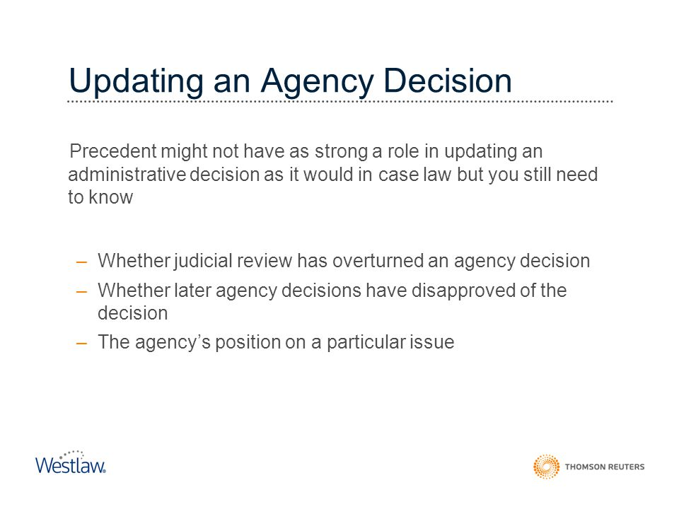 Updating an Agency Decision