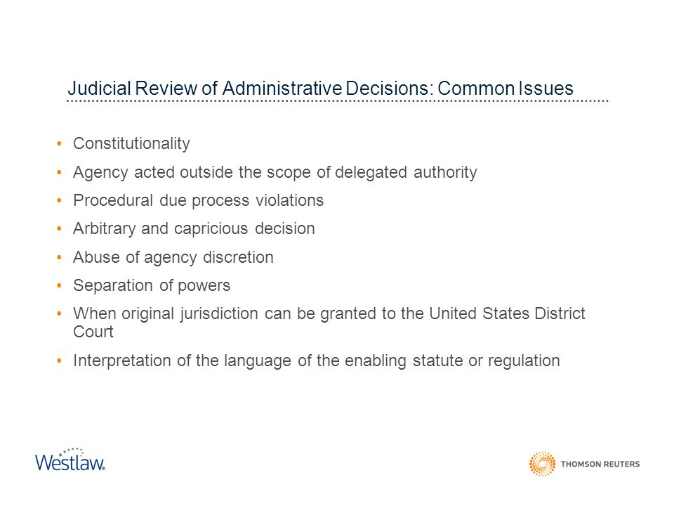 Judicial Review of Administrative Decisions: Common Issues