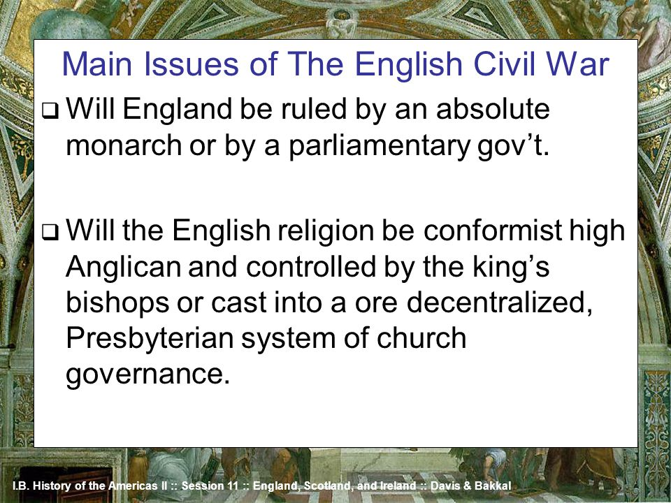 Main Issues of The English Civil War