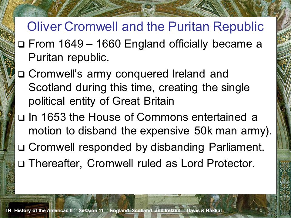 Oliver Cromwell and the Puritan Republic