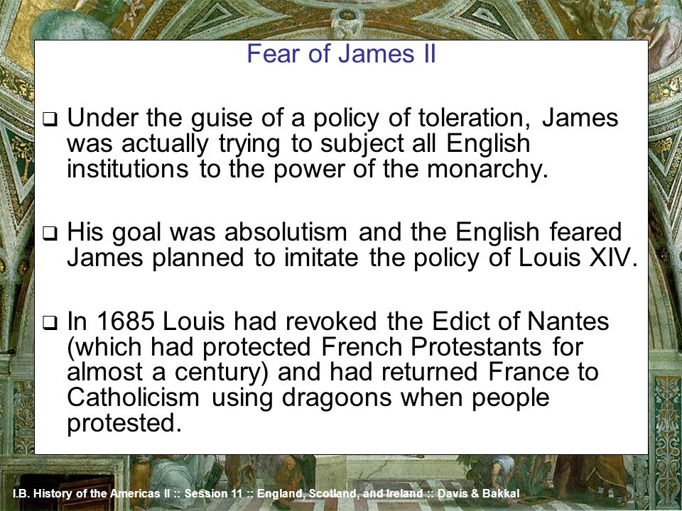 Fear of James II