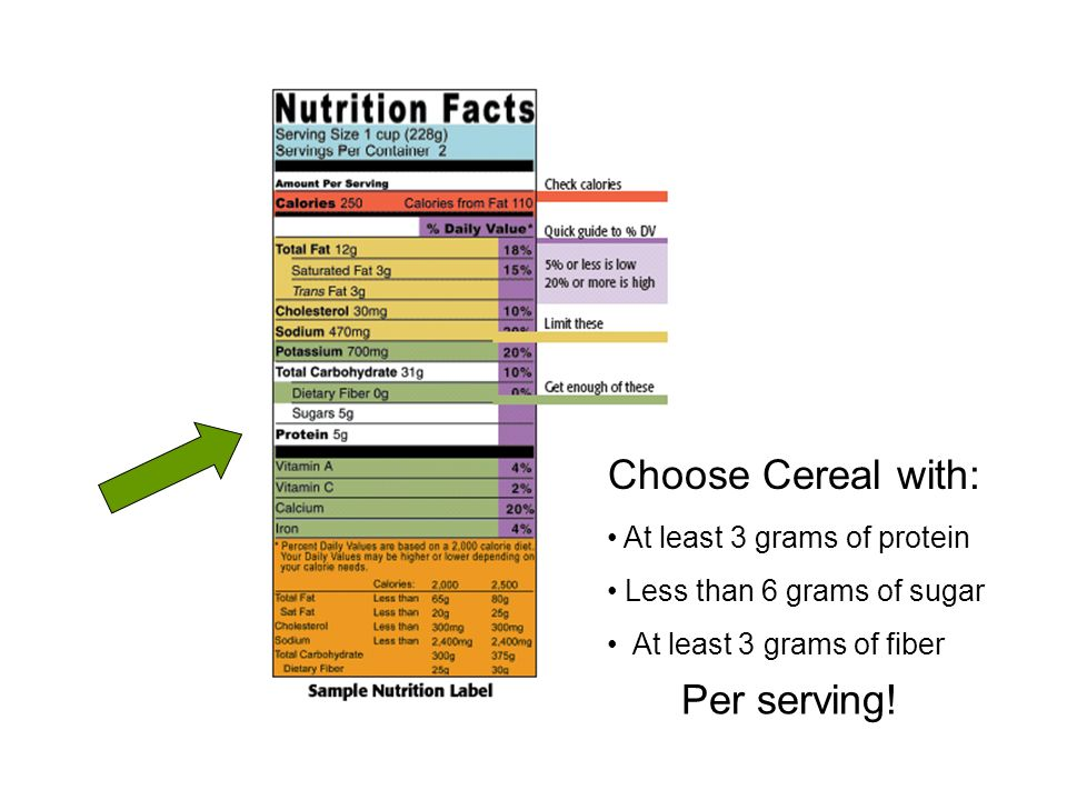 Choose Cereal with: Per serving! At least 3 grams of protein