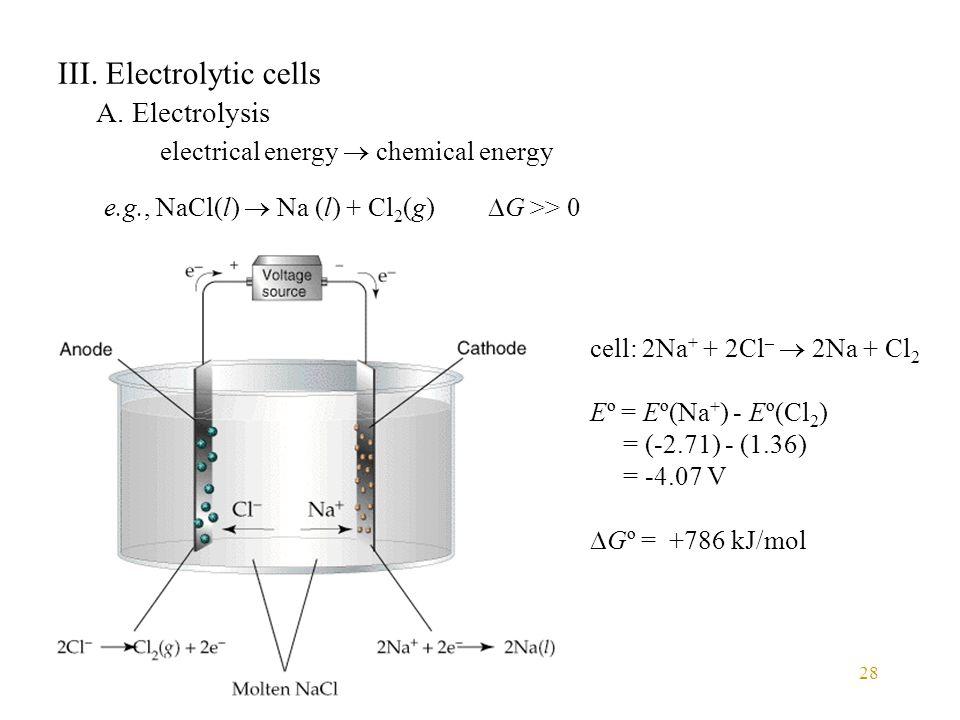 III. Electrolytic cells