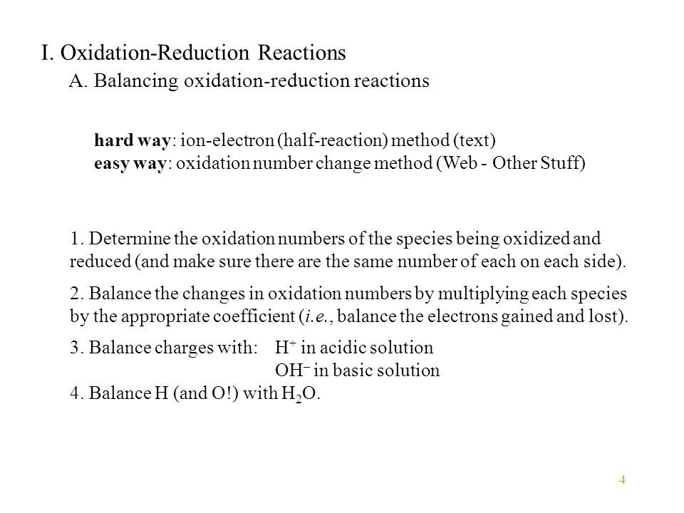 I. Oxidation-Reduction Reactions
