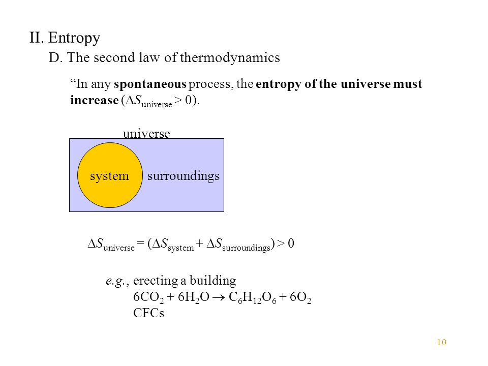 II. Entropy D. The second law of thermodynamics