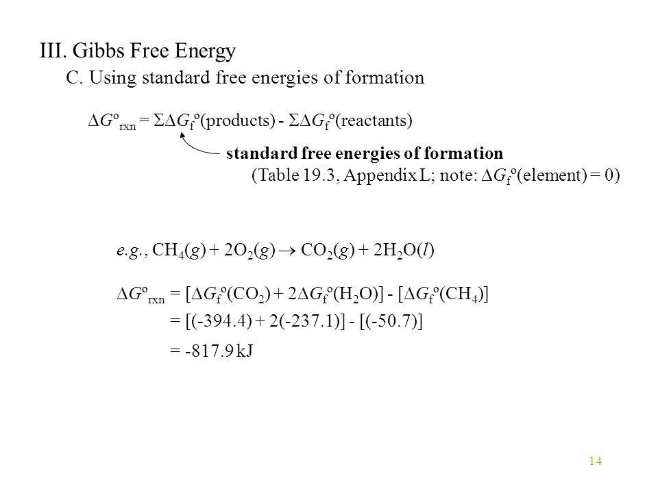 III. Gibbs Free Energy C. Using standard free energies of formation