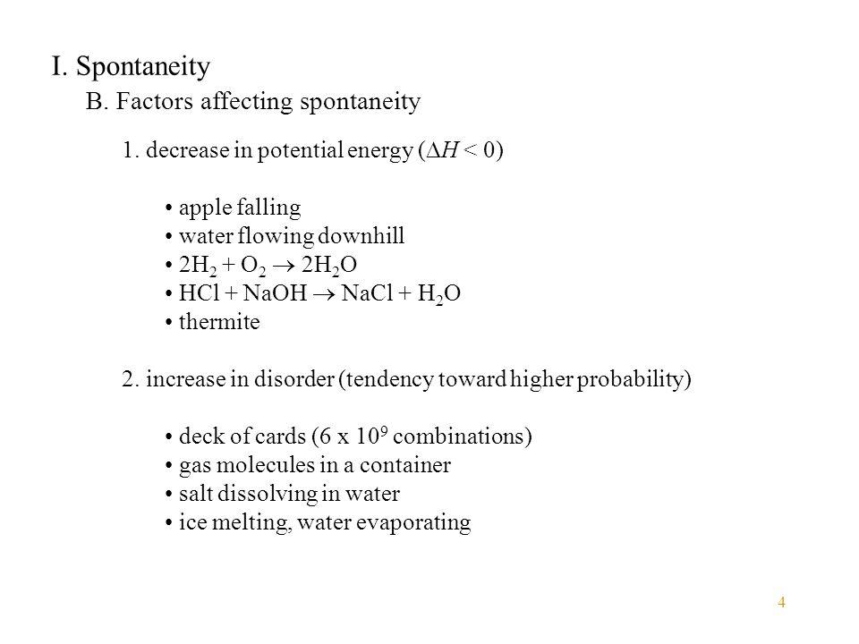 I. Spontaneity B. Factors affecting spontaneity