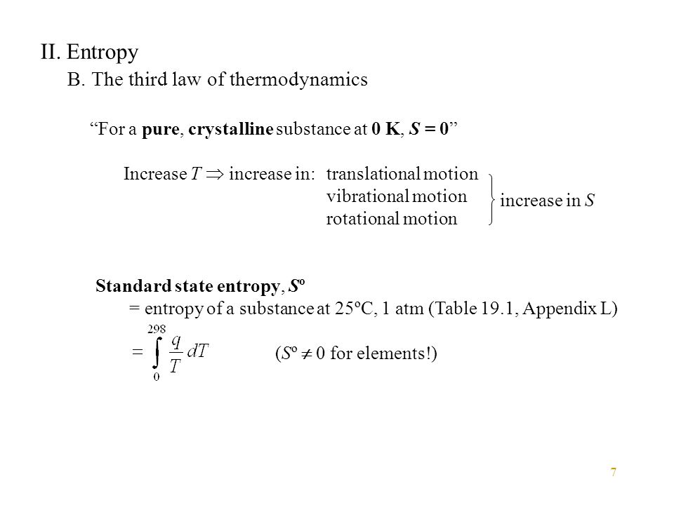 II. Entropy B. The third law of thermodynamics