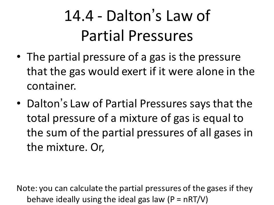 14.4 - Dalton's Law of Partial Pressures
