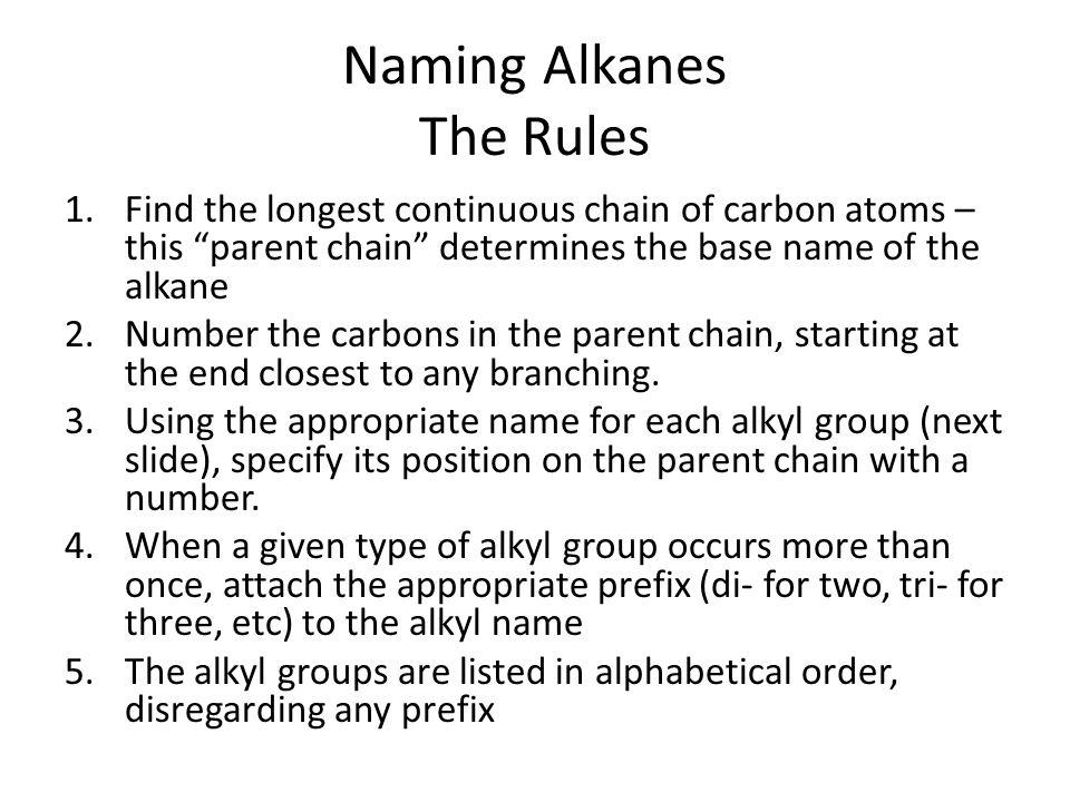 Naming Alkanes The Rules