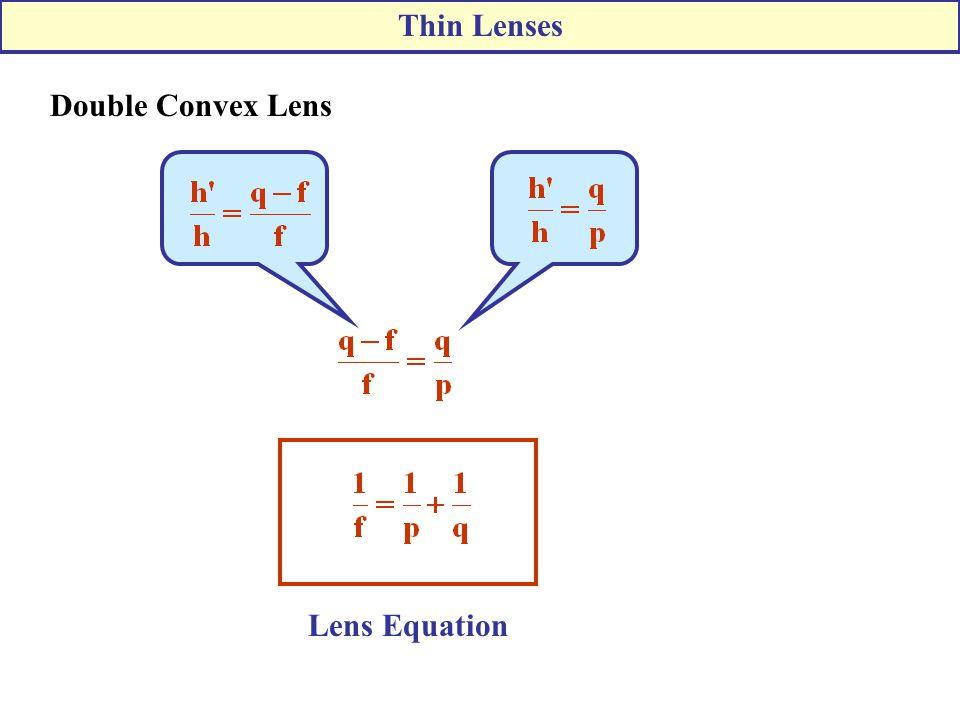 Thin Lenses Double Convex Lens Lens Equation