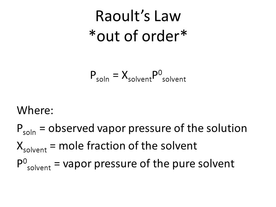 Raoult's Law *out of order*