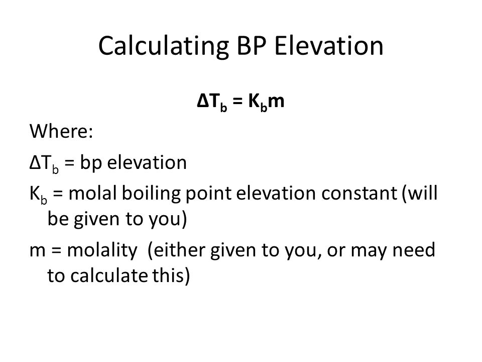 Calculating BP Elevation