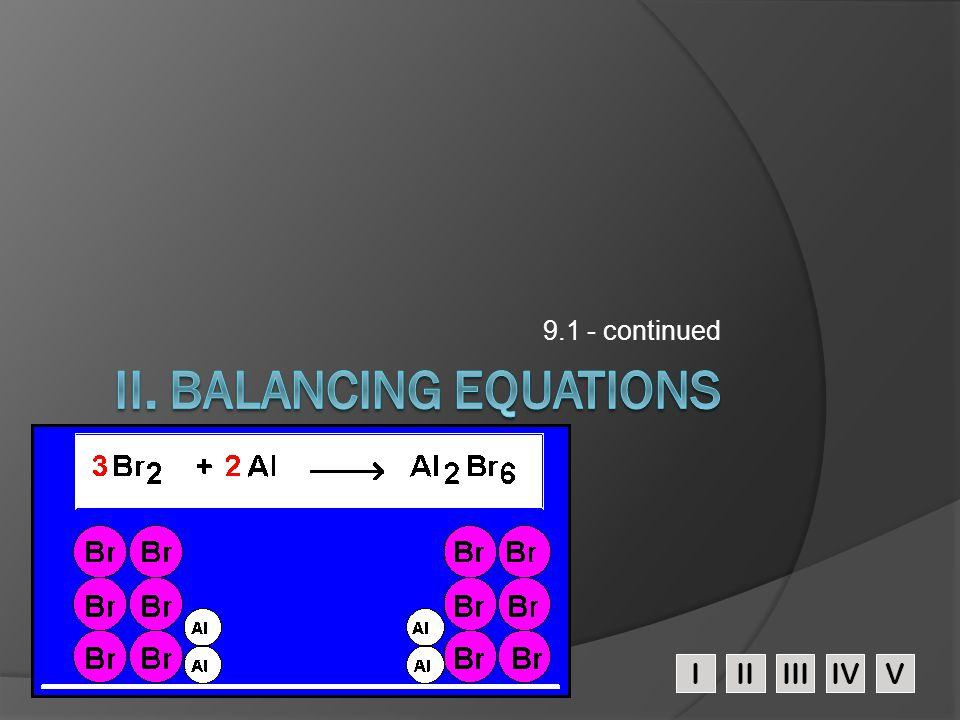 II. Balancing Equations