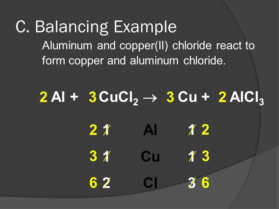 C. Balancing Example 2 Al + CuCl2  Cu + AlCl3 Al Cu Cl 3 3 2 2  1 1