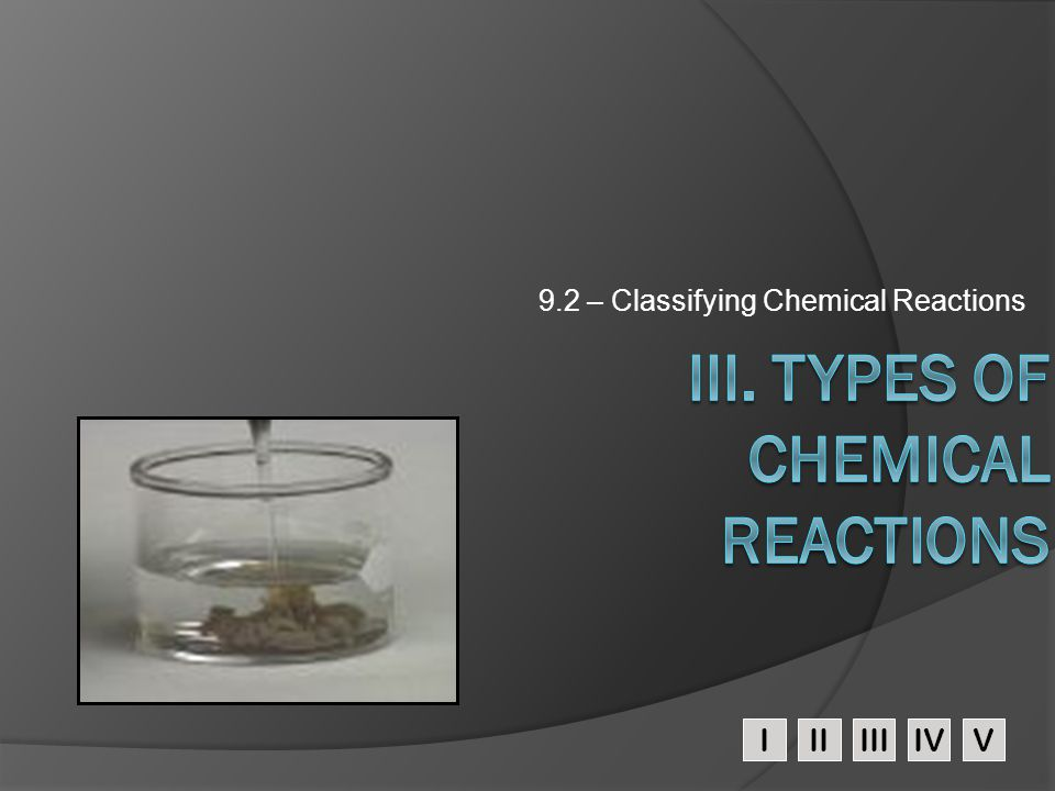 III. Types of Chemical Reactions