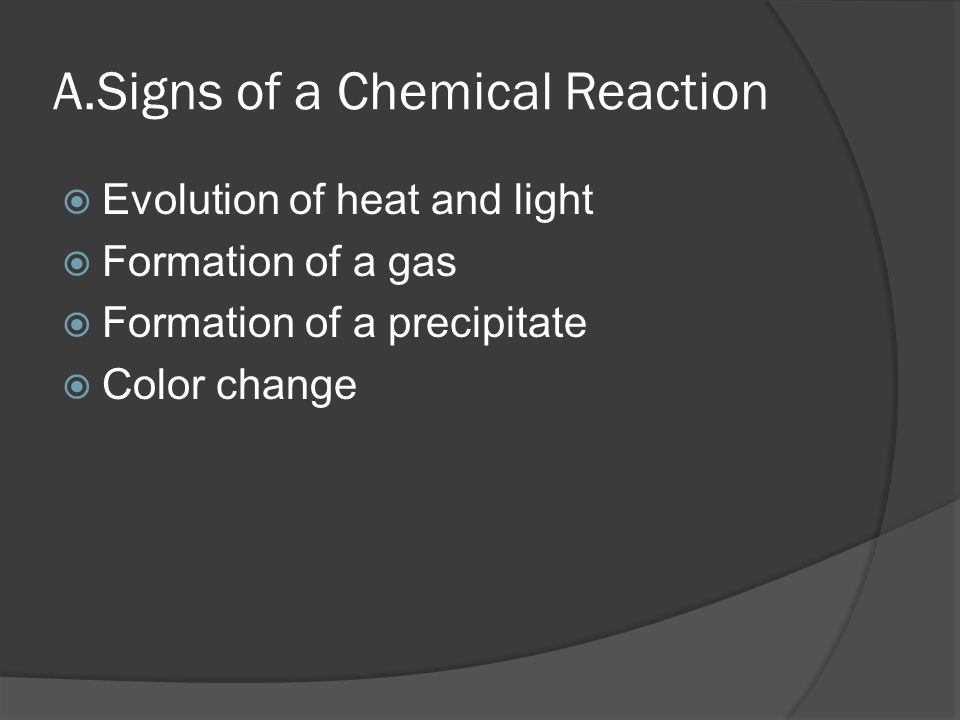 A.Signs of a Chemical Reaction