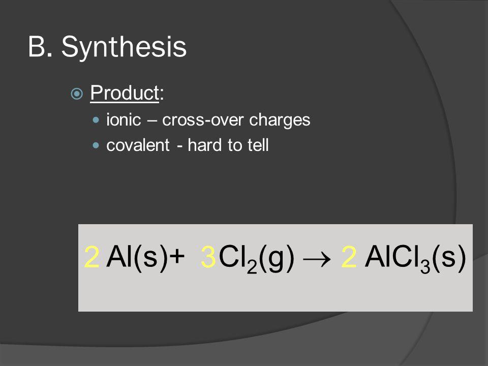 B. Synthesis Al(s)+ Cl2(g)  2 3 2 AlCl3(s) Product: