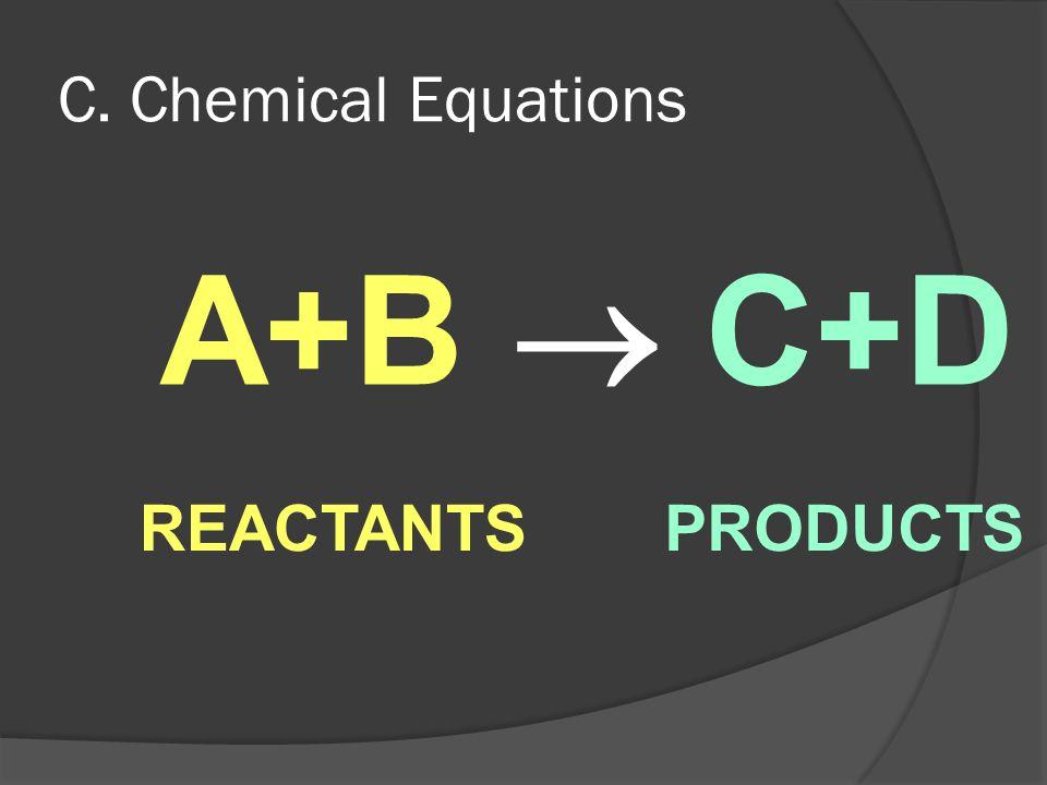 C. Chemical Equations A+B  C+D REACTANTS PRODUCTS