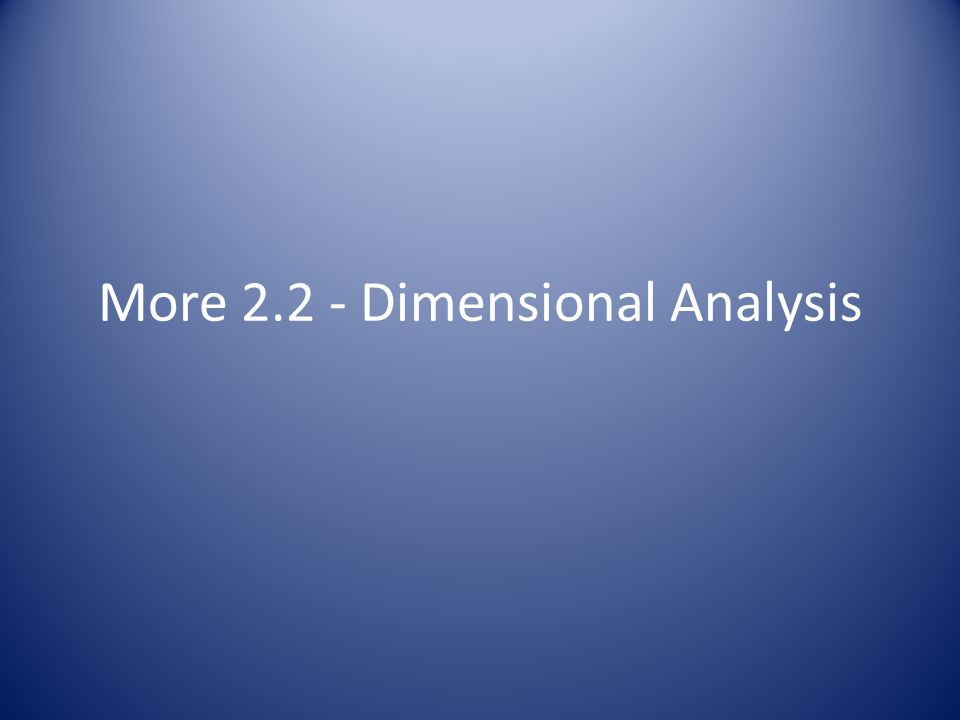 More 2.2 - Dimensional Analysis