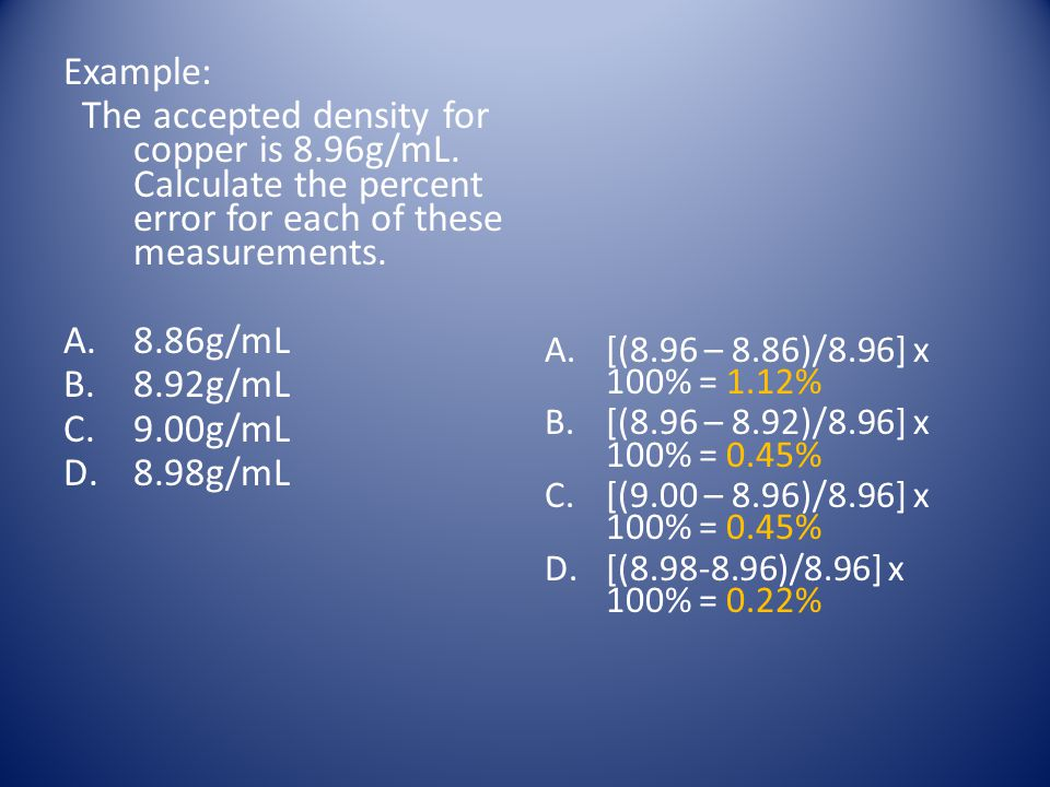 Example: The accepted density for copper is 8.96g/mL. Calculate the percent error for each of these measurements.