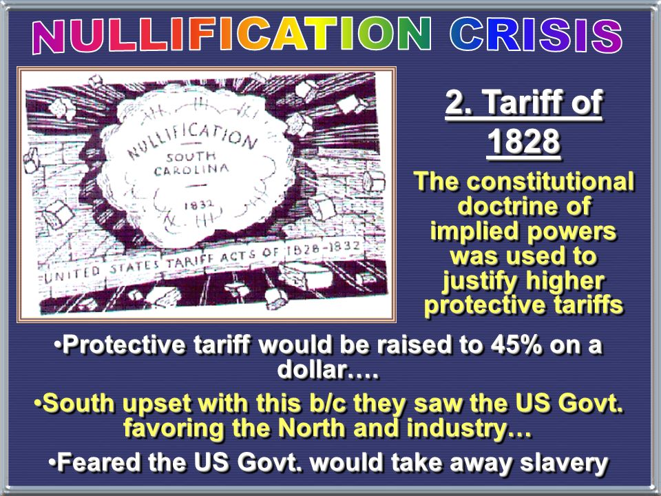 NULLIFICATION CRISIS 2. Tariff of 1828
