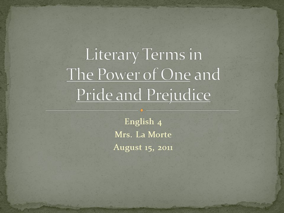 Literary Terms in The Power of One and Pride and Prejudice