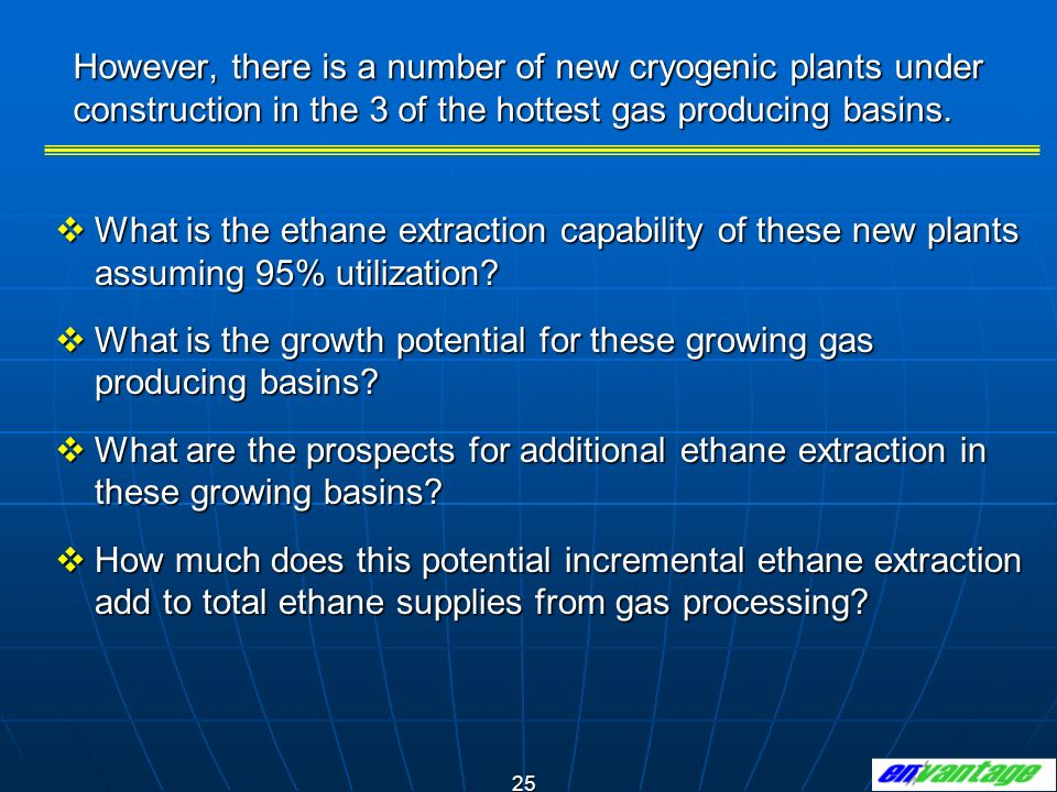 However, there is a number of new cryogenic plants under construction in the 3 of the hottest gas producing basins.