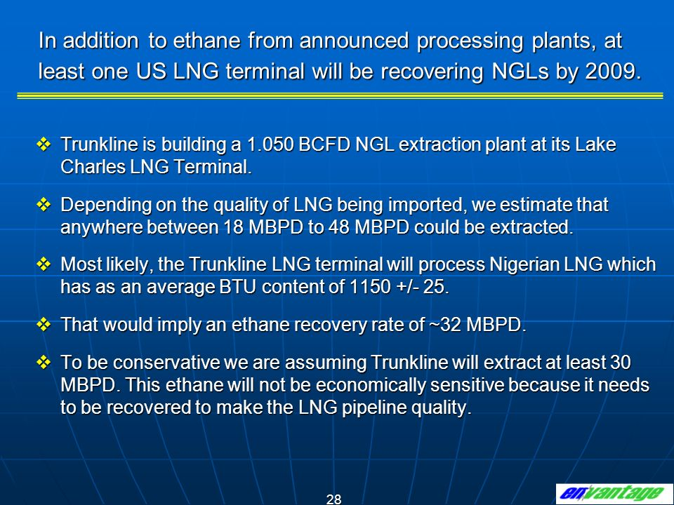 In addition to ethane from announced processing plants, at least one US LNG terminal will be recovering NGLs by 2009.