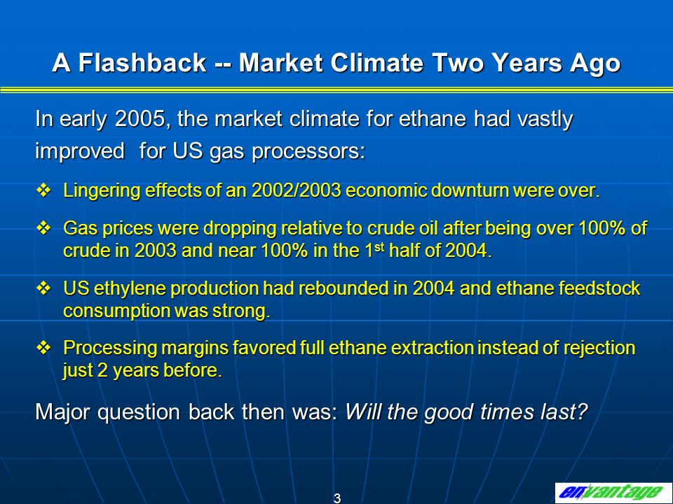 A Flashback -- Market Climate Two Years Ago