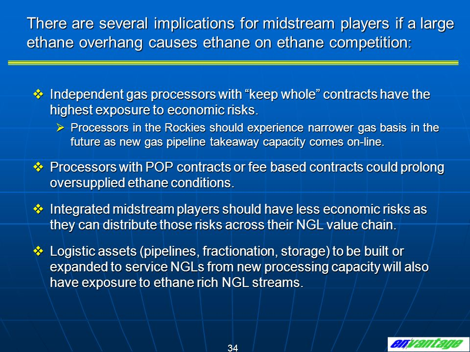 There are several implications for midstream players if a large ethane overhang causes ethane on ethane competition: