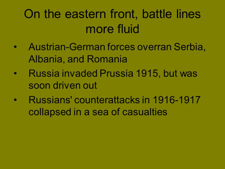 On the eastern front, battle lines more fluid