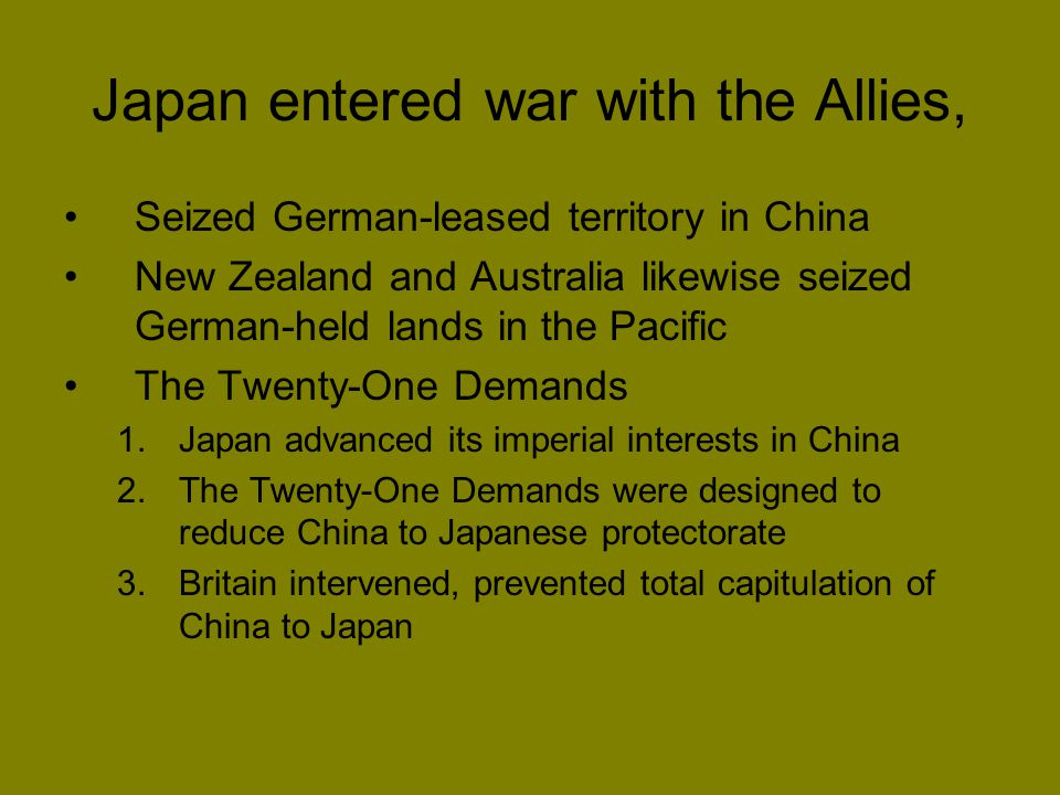 Japan entered war with the Allies,