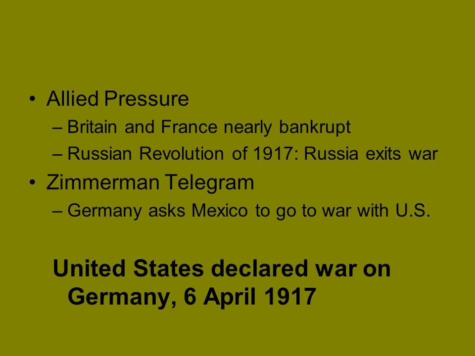 United States declared war on Germany, 6 April 1917