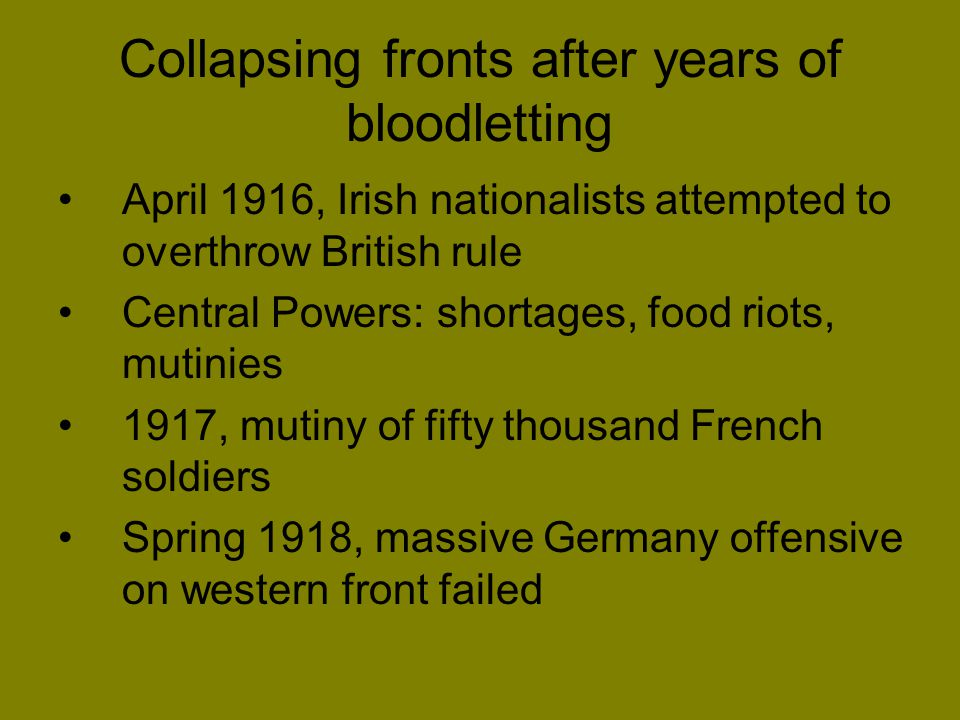 Collapsing fronts after years of bloodletting