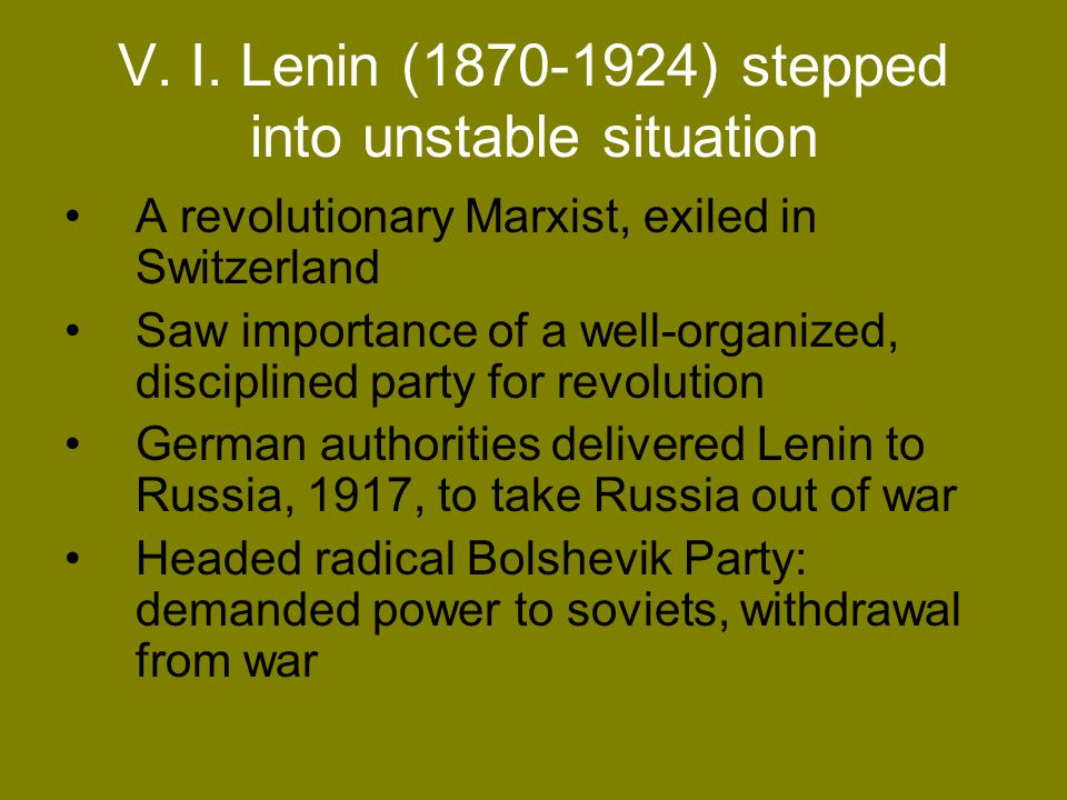 V. I. Lenin (1870-1924) stepped into unstable situation