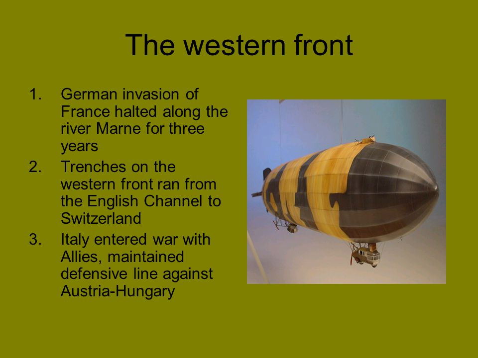 The western front German invasion of France halted along the river Marne for three years.