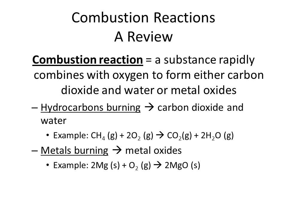 Combustion Reactions A Review